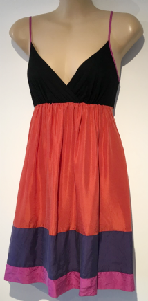 LIPSY PINK/PURPLE/BLACK COLOUR BLOCK SUN DRESS SIZE 14